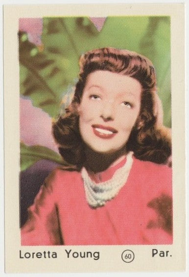 Loretta Young 1952 Maple Leaf Gum Film Star Paper Stock Trading Card #60
