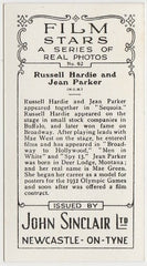 Russell Hardie + Jean Parker 1937 John Sinclair Film Stars Trading Card #62