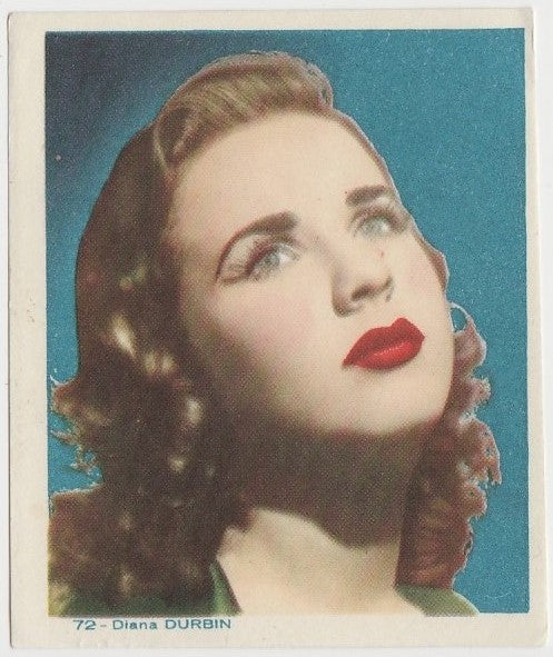 Deanna Durbin Late 1930s Colorful Paper Stock Trading Card #72 Blue Text