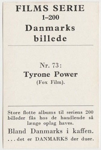 Tyrone Power vintage 1948 Danmarks Film Star Trading Card #73