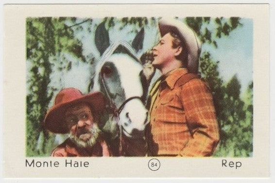 Monte Hale 1952 Maple Leaf Gum Film Star Paper Stock Trading Card #84