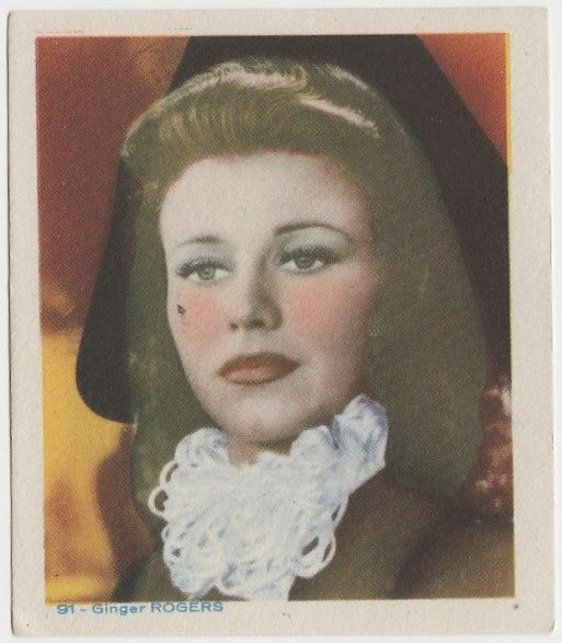 Ginger Rogers Late 1930s Colorful Paper Stock Trading Card #91 Blue Text