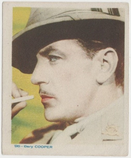 Gary Cooper Late 1930s Colorful Paper Stock Trading Card #96 Blue Text