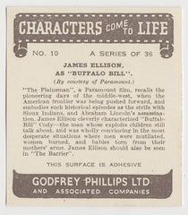 James Ellison 1938 Godfrey Phillips Characters Come to Life Trading Card #10