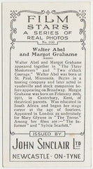 Walter Abel + Margot Grahame 1937 John Sinclair Film Stars Trading Card #100