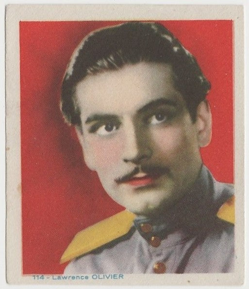 Laurence Olivier Late 1930s Colorful Paper Stock Trading Card #114 Blue Text