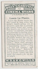 Laura La Plante 1934 Godfrey Phillips Film Favourites Trading Card #12