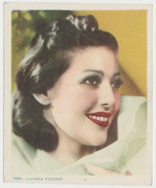Loretta Young Late 1930s Colorful Paper Stock Trading Card #128 Blue Text