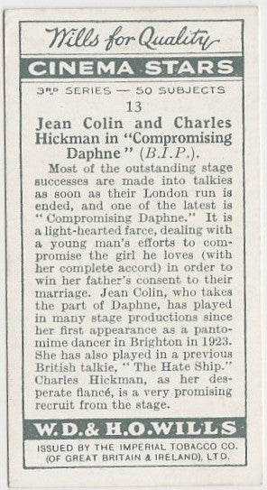 Jean Colin + Charles Hickman 1931 Wills Cinema Stars Trading Card #13