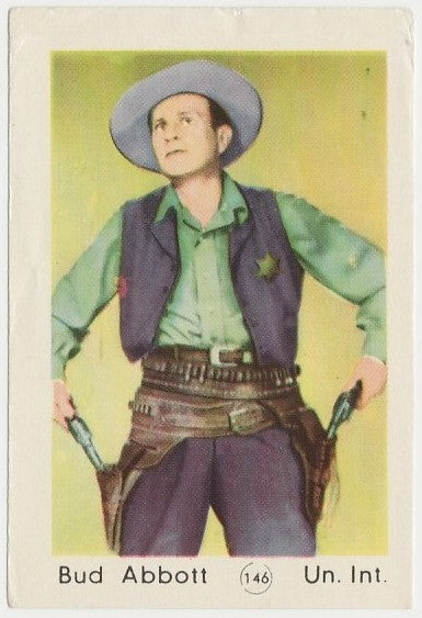 Bud Abbott 1952 Maple Leaf Gum Film Star Paper Stock Trading Card #146