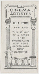 Leila Hyams 1932 BAT Cinema Artistes Trading Card #14