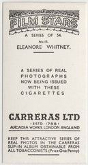 Eleanore Whitney 1937 Carreras Film Stars Trading Card #15