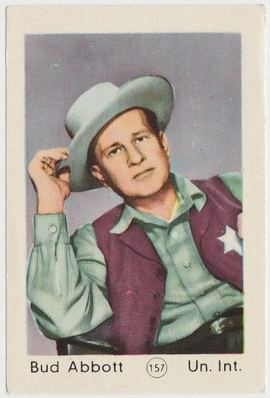 Bud Abbott 1952 Maple Leaf Gum Film Star Paper Stock Trading Card #157