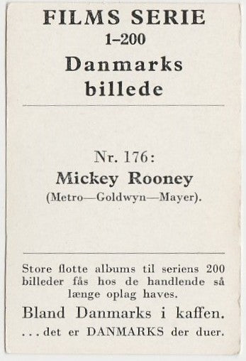 Mickey Rooney vintage 1948 Danmarks Film Star Trading Card #176