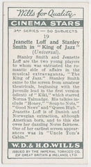 Jeanette Loff + Stanley Smith 1931 Wills Cinema Stars Trading Card #19