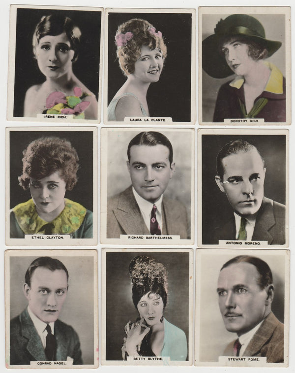 Lot 9 different 1927 African Brand Cinema Artistes Trading Cards
