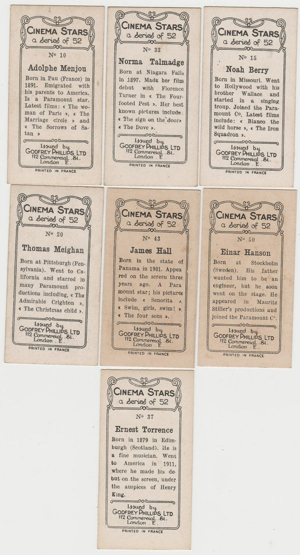 Lot 7 different 1929 Godfrey Phillips Cinema Stars Trading Cards