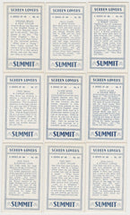 Lot of 9 High Grade 1930s SUMMIT SCREEN LOVERS Trading Cards - All NM to NM-MT