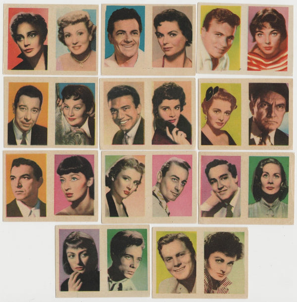 Lot of 11 vintage 1950s 1960s Film Star Pairs on Paper-Stock Trading Cards