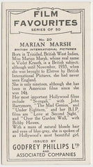 Marian Marsh 1934 Godfrey Phillips Film Favourites Trading Card #20