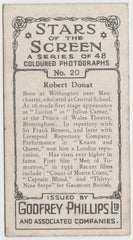 Robert Donat 1936 Godfrey Phillips Stars of the Screen Trading Card #20