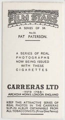 Pat Paterson 1937 Carreras Film Stars Trading Card #22