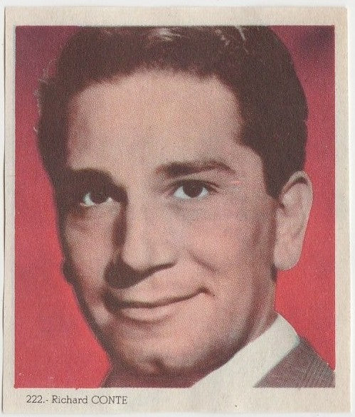 Richard Conte 1940s Colorful Paper Stock Trading Card #222 Black Text