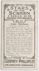Jessie Matthews 1936 Godfrey Phillips Stars of the Screen Trading Card #23