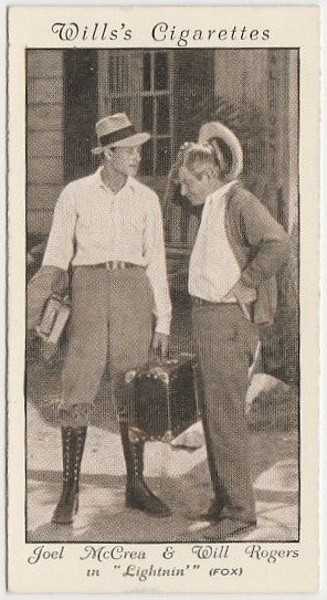 Will Rogers + Joel McCrea 1931 Wills Cinema Stars Trading Card #23