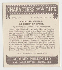 Raymond Massey 1938 Godfrey Phillips Characters Come to Life Trading Card #25