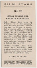 Sally Eilers +Charles Starrett 1934 Godfrey Phillips Film Stars Trading Card #26
