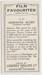 Adrianne Allen 1934 Godfrey Phillips Film Favourites Trading Card #27