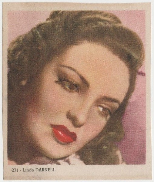 Linda Darnell 1940s Colorful Paper Stock Trading Card #271 Black Text