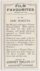 Sari Maritza 1934 Godfrey Phillips Film Favourites Trading Card #28