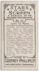 Laura La Plante 1936 Godfrey Phillips Stars of the Screen Trading Card #29