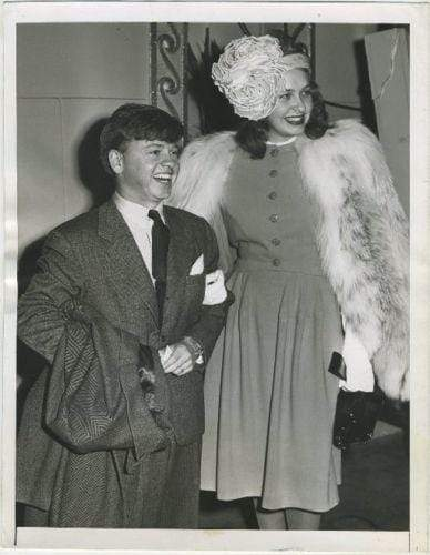2nd Wife Betty Jane + Mickey Rooney 1946 Date Stamped Press Photo with Tag