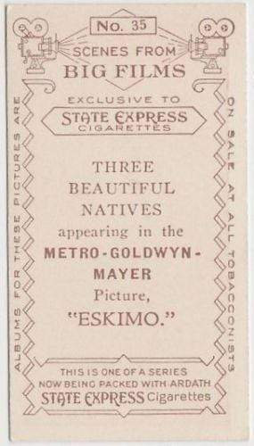 3 Beautiful Natives of ESKIMO 1935 Ardath SCENES FROM BIG FILMS Tobacco Card #35