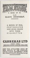 Gladys Swarthout 1937 Carreras Film Stars Trading Card #30