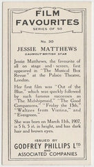 Jessie Matthews 1934 Godfrey Phillips Film Favourites Trading Card #30