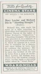 Richard Dix + Mary Lawlor 1931 Wills Cinema Stars Trading Card #31
