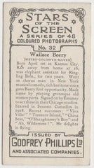 Wallace Beery 1936 Godfrey Phillips Stars of the Screen Trading Card #32