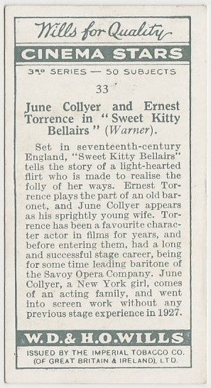 June Collyer + Ernest Torrence 1931 Wills Cinema Stars Trading Card #33