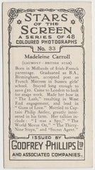Madeleine Carroll 1936 Godfrey Phillips Stars of the Screen Trading Card #33