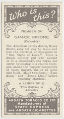 Grace Moore 1936 Ardath Who Is This Trading Card #34