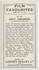 Cicely Courtneidge 1934 Godfrey Phillips Film Favourites Trading Card #35