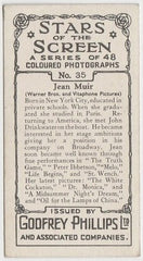 Jean Muir 1936 Godfrey Phillips Stars of the Screen Trading Card #35