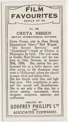 Greta Nissen 1934 Godfrey Phillips Film Favourites Trading Card #36