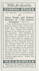 Anna Neagle + Ballard Berkeley 1931 Wills Cinema Stars Trading Card #38