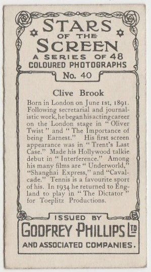 Clive Brook 1936 Godfrey Phillips Stars of the Screen Trading Card #40