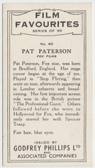 Pat Paterson 1934 Godfrey Phillips Film Favourites Trading Card #40